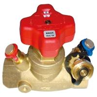 STRÖMAX-GM, Ventil za regulisanje usponskih vodova, pravi model, sa mernim ventilima, sa priključkom za impulsnu cev